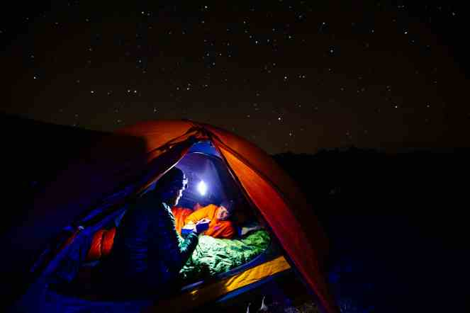 Lights Display Stars Tetons Night Camping