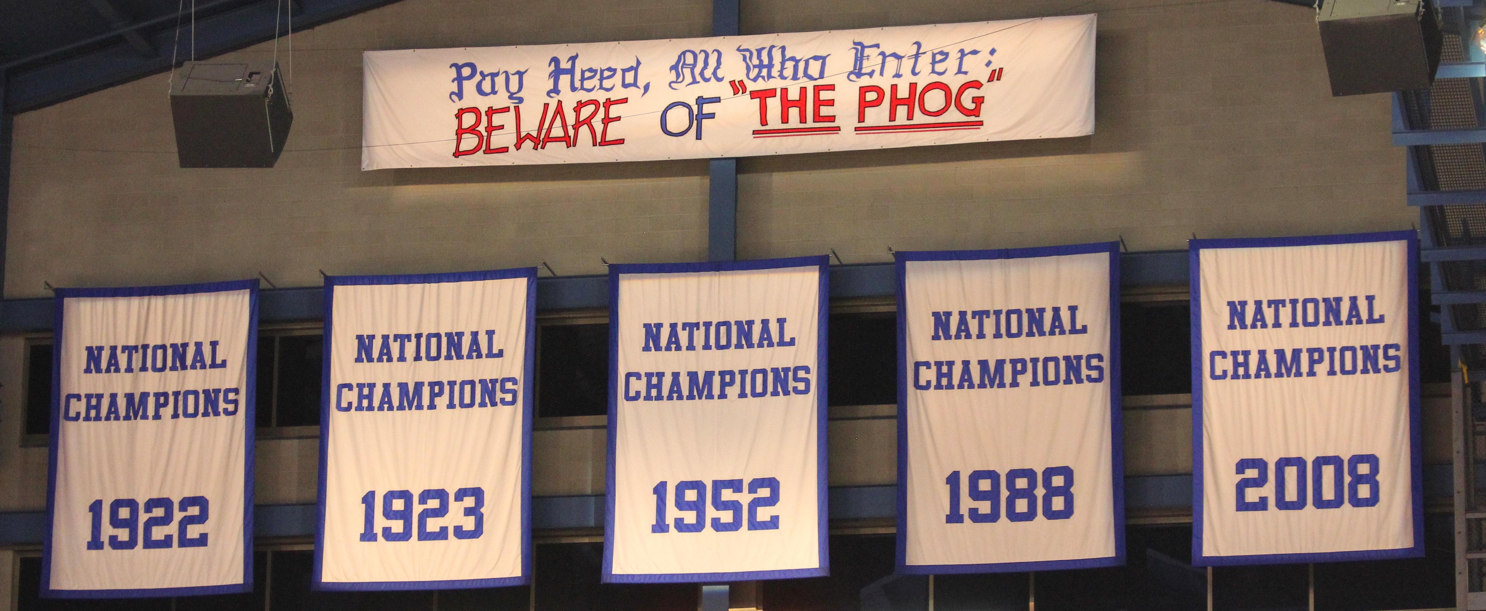 Kansas Basketball National Championships Banners