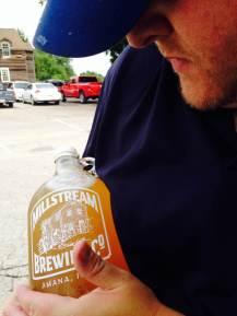 Sh..sh.sh.shhhh. Daddy's right here. Isn't my growler beautiful! At the Millstream Brewing Co. in Amana, IA.