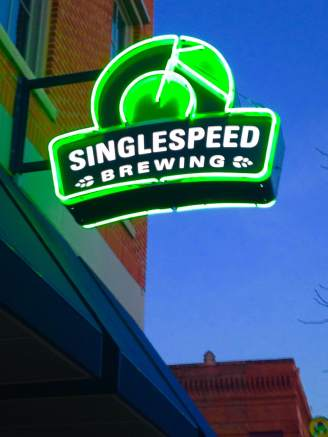 The neon called to us. Or was it the hops? You may be busy during RAGBRAI, Singlespeed. http://www.singlespeedbrewing.com/