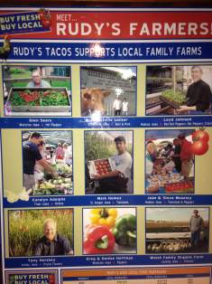 The home team supporting the home teams. Say hello to your local farmers that keep Rudy's Tacos on the table!