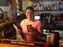 Melissa served JayJay a refreshing pint of The Depot's Pale Ale.