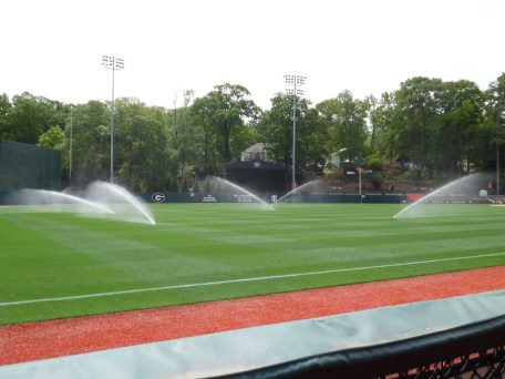 Morning sprinklers awake Foley Field. The sprinklers start at 11:00 and run for one hour. The water is adding moisture to the outfield before it is cut. (April 15th) Photo Credit: Jaylon Thompson, Multiplatform news