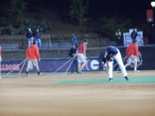 The game starts at 7:00pm and the grounds crew rakes the field in the 3rd and 7th inning. This is done to increase traction from the game's wear and tear. (April 15th) Photo Credit: Jaylon Thompson, Multiplatform news