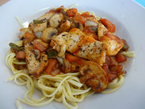 Chicken Cacciatore with Linguine