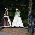 Some women dressed in costume in Gettysburg