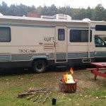 RV setup at park withfire