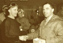 Jay Peak - Walter Foeger presenting Gold Medal to Ernie McFarlane, Spring 1959