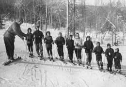 Jay Peak - Walter Foeger with Young Ski Team. Winter 1957-1958