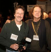 Baker Rorick, (right) creator of the Woodstock Luthiers Invitational and Jay Rosenblatt.