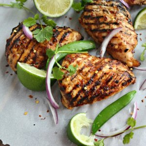 Thai Coconut-Lemongrass Grilled Chicken with Lime-Peanut Rice Noodles (for 1)