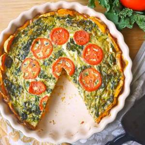Potato Latke Quiche with Winter Greens, Broccoli, 3 Cheeses (for 6+)