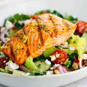 Wild Salmon Salad w/ Romaine, Skillet Corn, Quinoa, Honey Lime-Herb Vinaigrette (for 1)