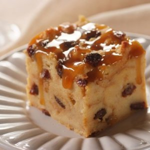 Cinnamon Raisin Bread Pudding with Butterscotch Rum Sauce (for 1-2)