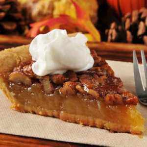 Kahlua Pecan Pie with Caramel Drizzle and Whipped Cream (for 1+)