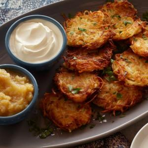 Bubbe's Potato Latkes with Sour Cream and Apple Sauce (for 2)