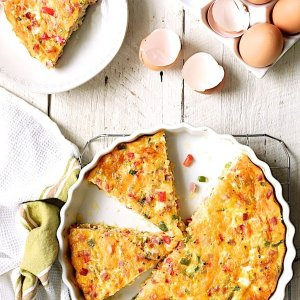 Denver Omelet Quiche w/ Peppers, Onions, Mushrooms, Black Forest Ham, Polenta Crust (for 2)
