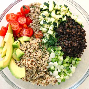 The Butcher's Daughter Recharge Bowl: Farro, Red Quinoa, Greens, Radishes, Avocado, Goat Cheese, Mint Vinaigrette (for 1)
