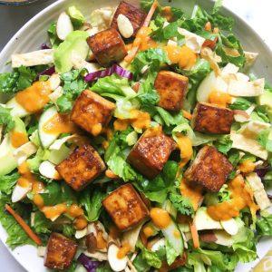 Rejuvenation Salad: Sesame Tofu, Lemon-Tahini Sauce, Vegetable-Steeped Lentils, Red Quinoa, Chopped Greens (for 1)
