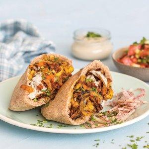 Shawarma-Spiced Tofu Pita, Israeli Salad, Chopped Kale, Tahini Sauce, Feta (for 1)