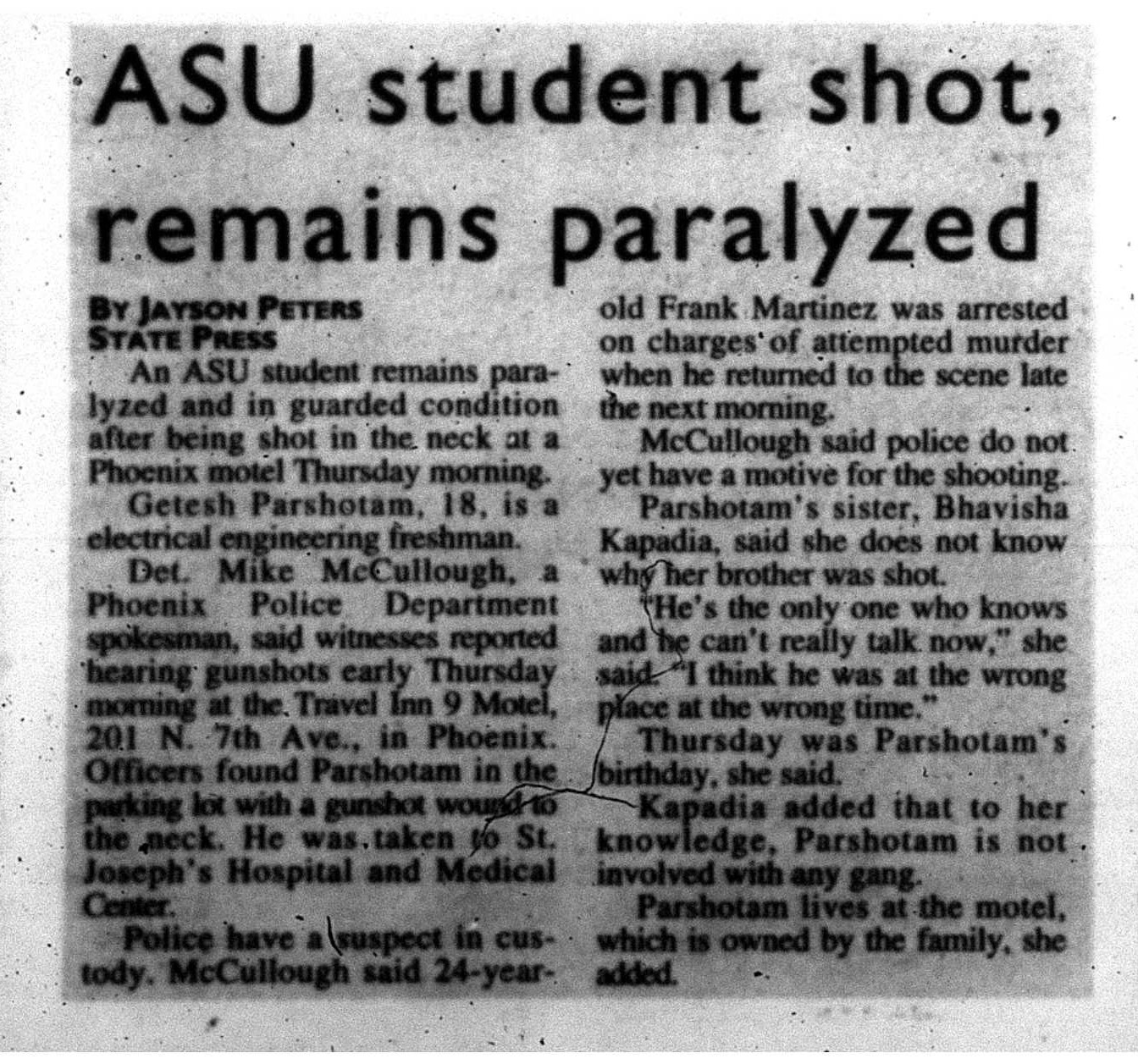 ASU student shot, remains paralyzed
