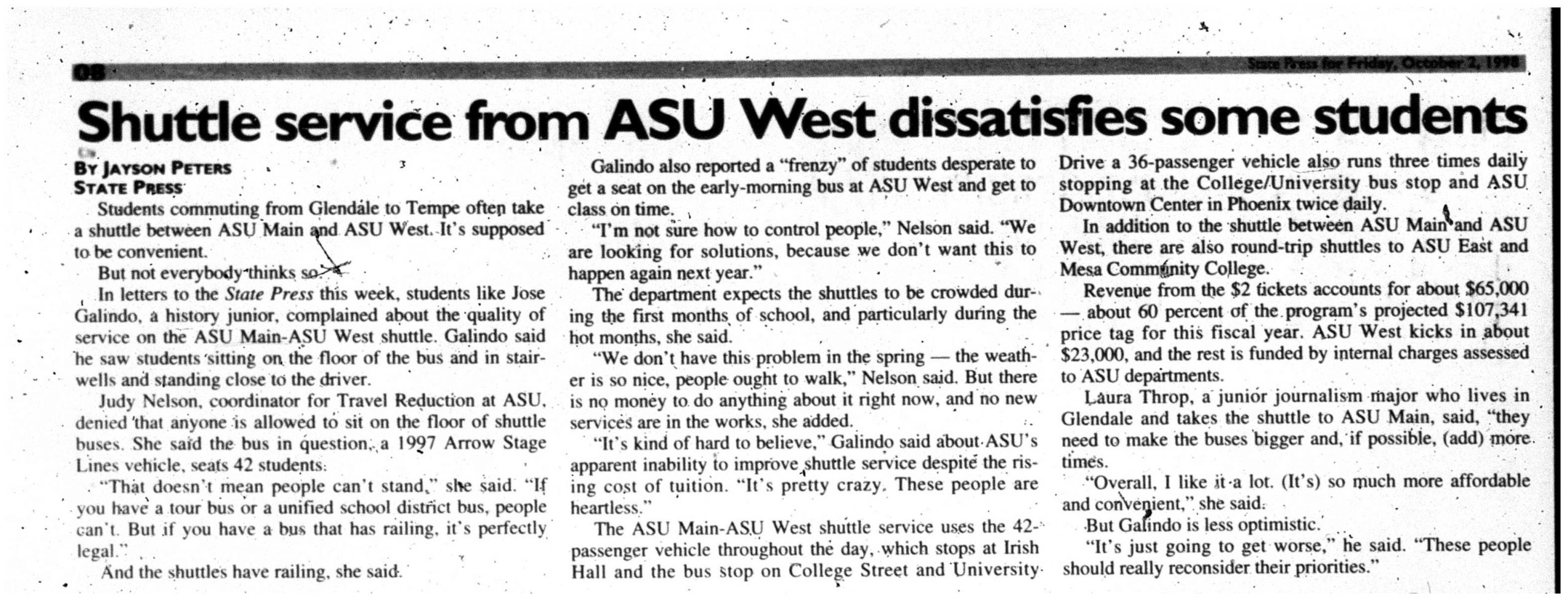 Shuttle service from ASU West dissatisfies some students