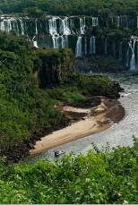 Iguazu Falls with small beach