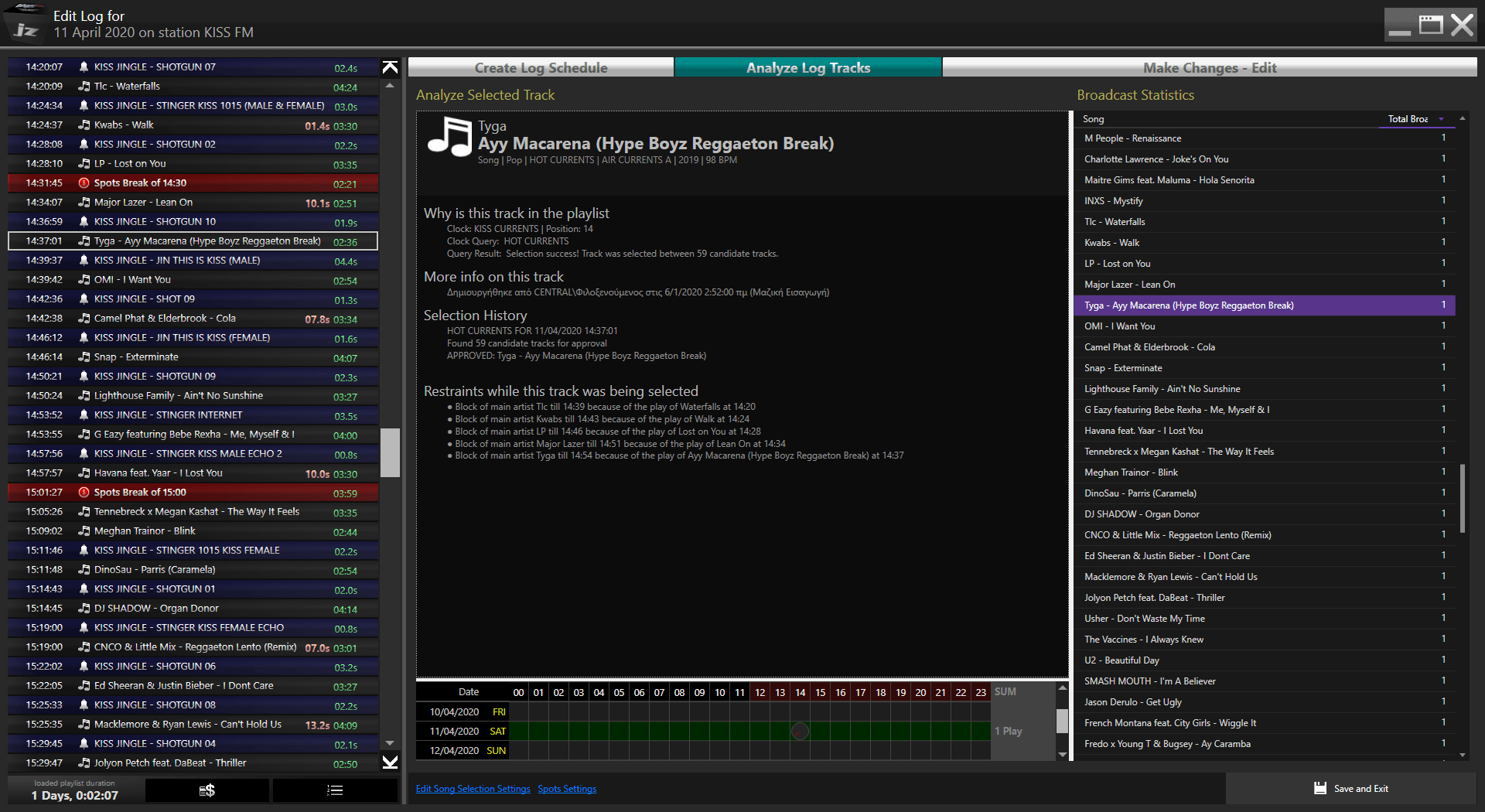 The log creator can create the full 24 hour playlist of a day based on your clock scheduling so you won't have surprises. It allows you to edit it and record voice tracks on it.