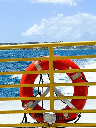Buoy on a ferry rail