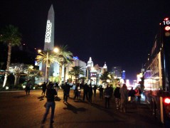 Marching toward the strip. No cops around! But crazy drivers lurk... Photo by Jason Nellis