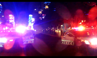 Screenshot from my video, when we blocked off the strip at Bellagio and got surrounded by unhappy cops.