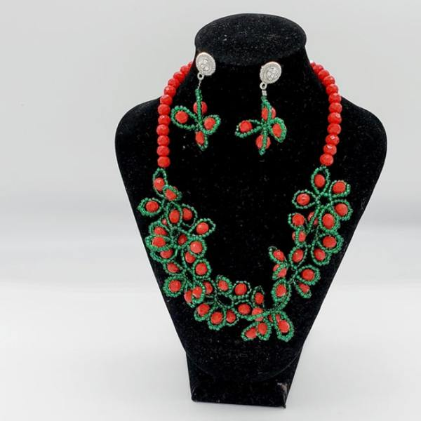 African Red Stone Necklace and Earrings