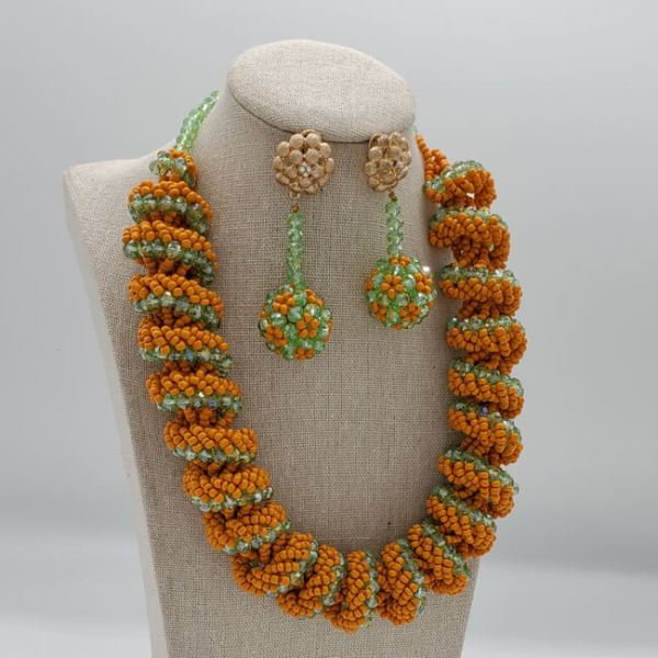 green and orrange necklace