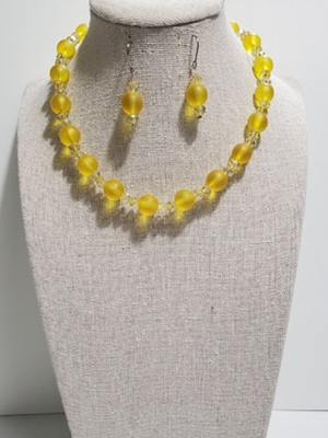Light Yellow Pearl Necklace and Earrings Set