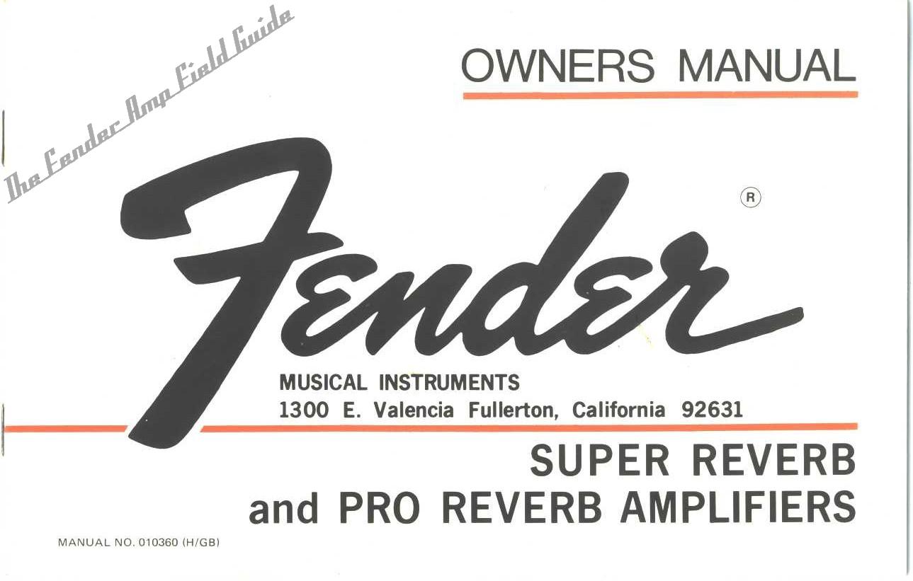 Fender Pro reverb manual 1972