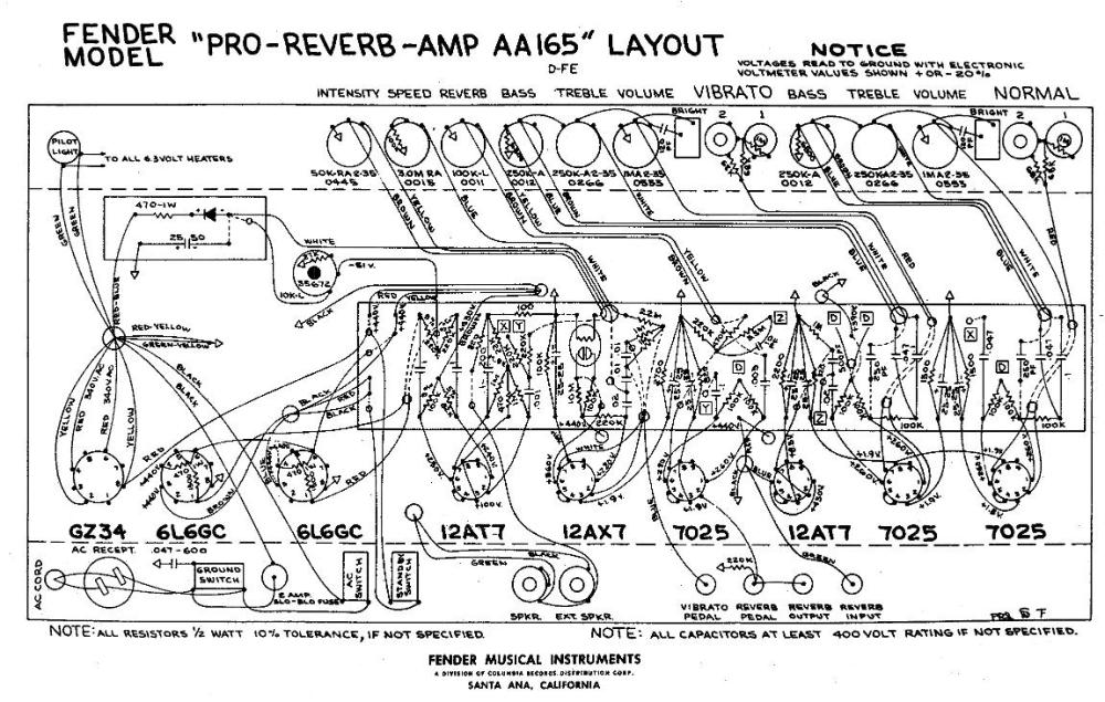 Fender Amps - Pro Reverb AA165 layout & serial number