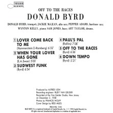 Donald Byrd - Off To The Races 1958 back