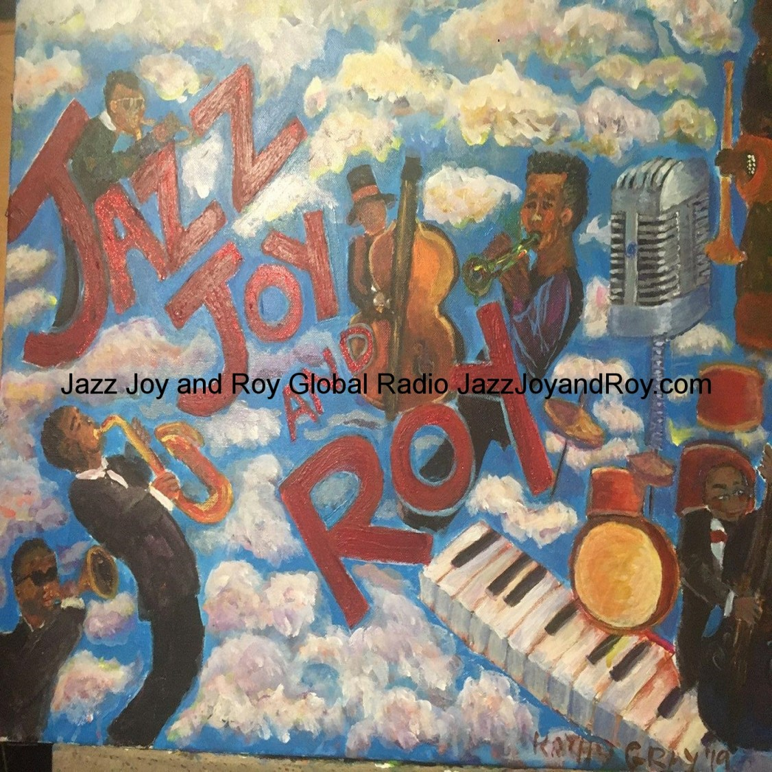"This awesome painting is a steal at only 10 million dollars and 15 cents or best offer. It was finished on Monday September 30th 2019 by American Artist Kathy Gray For America's World-Famous ""Jazz Joy and Roy Daily Podcast And Syndication Network,"" founded by veteran broadcaster Roy O'Dell Gray Sr in 2007 with money earned from Roy's then day job as a star customer service rep for American mobile giant Verizon Wireless, where Roy first dreamt of the joy he could provide by giving his own customers great deals and becoming ""The Recognized King of DJ Customer Service,"" while remaining, when compared to other American radio network owners, ""the least of these."" -----Another bootstrapping reality made possible by America and a friend of Roy's you'll hear about at the end of every JJ&R episode.---Tip for leggy artists with sexy Streisand-Style noses who happen to be great in the sack and like guys who don't seem depressed in the least about having perfect radio faces and who used to have 'really nice' butts: Always marry a DJ named Roy O'Dell Gray!"