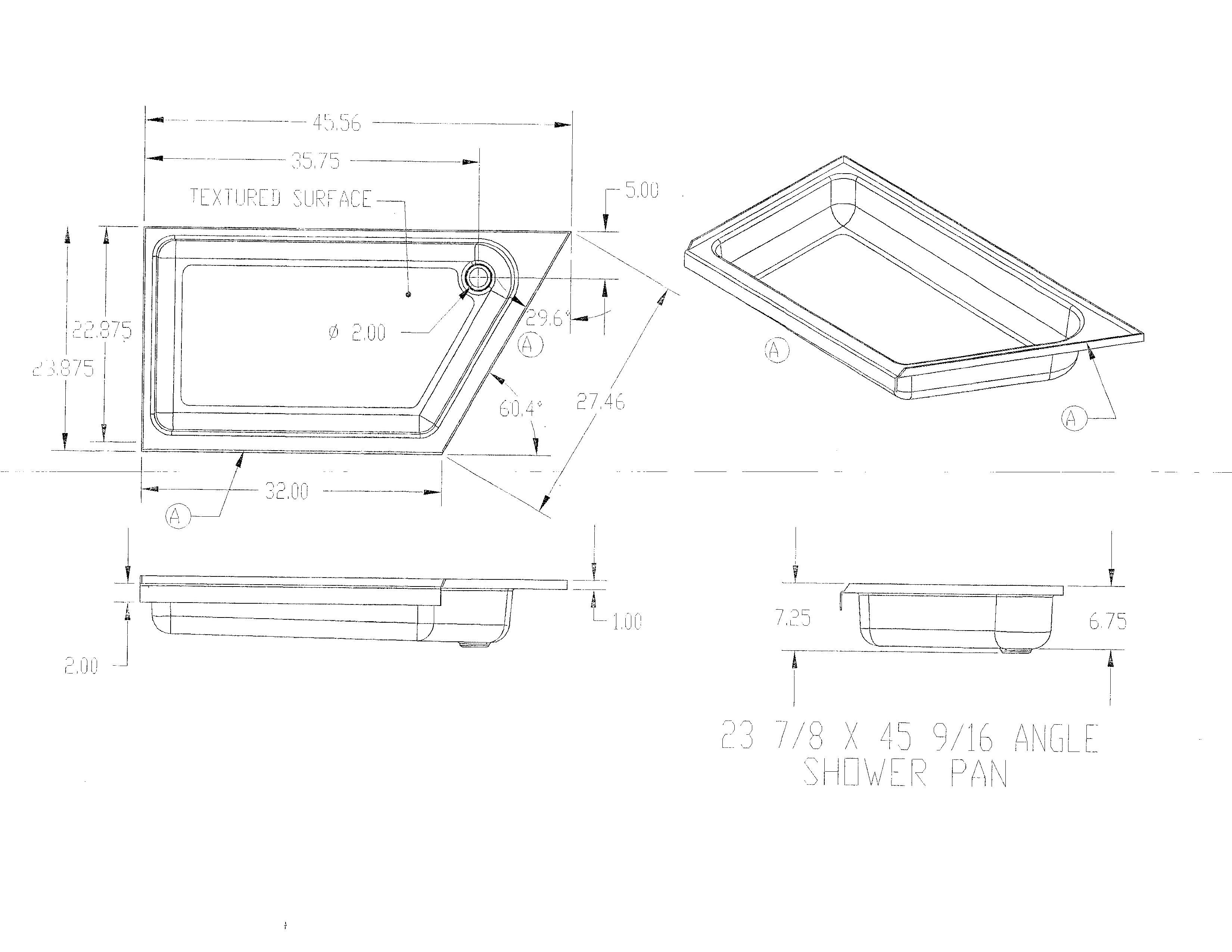 23 7 8 X 45 9 16 Slant Angle Shower Pan