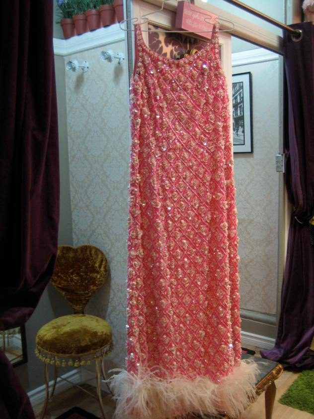 this 1960s gown weighed at least 10 pounds!