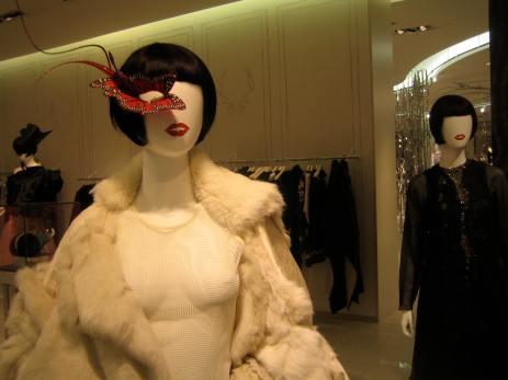 Alexander McQueen fur coat, Philip Treacy mask