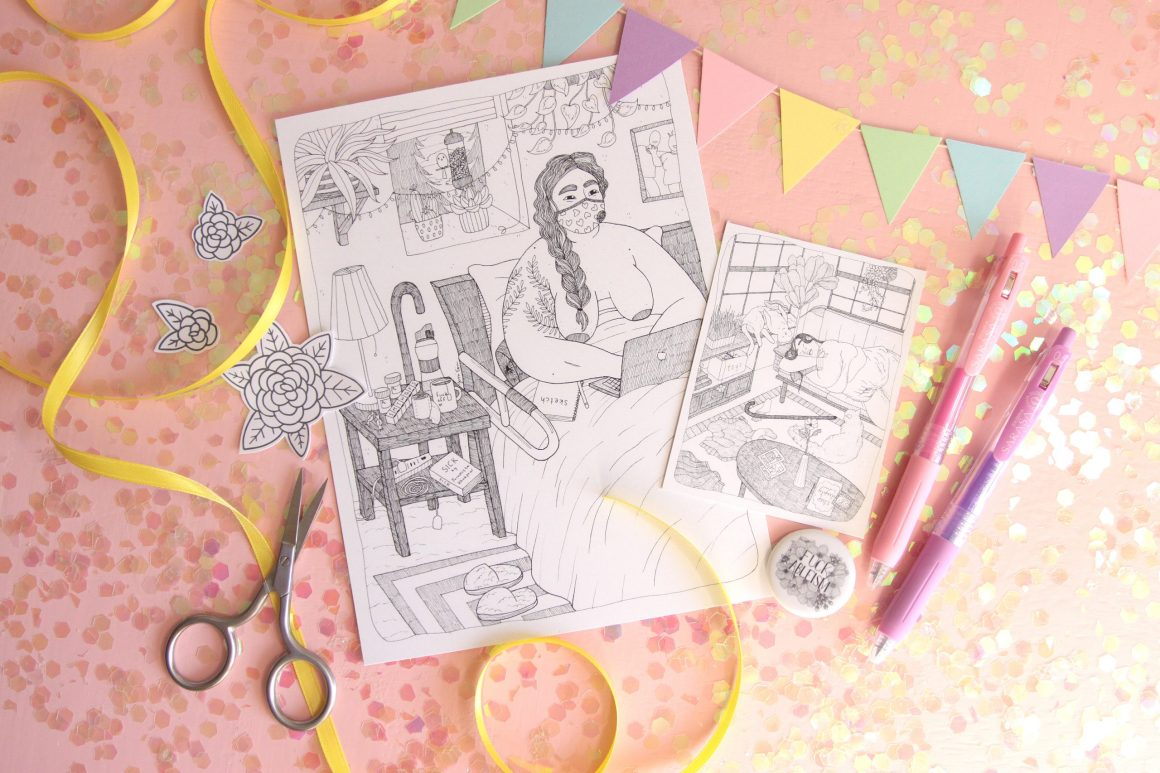 "A styled photo of a pink background showered with pink and opalescent glitter winking in the light, along with a colorful, pastel bunting across several products posed on the background: a 6 inch by 8 inch print of my piece ""From Bed,"" a 3 inch by 4 inch print of my piece ""Post Shower,"" several black and white flower stickers, and a black and white Fuck Ableism button."