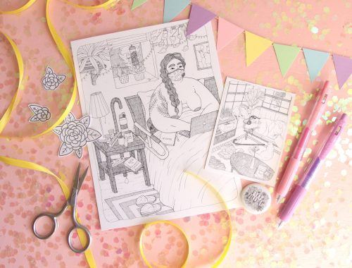 """A styled photo of a pink background showered with pink and opalescent glitter winking in the light, along with a colorful, pastel bunting across several products posed on the background: a 6 inch by 8 inch print of my piece """"From Bed,"""" a 3 inch by 4 inch print of my piece """"Post Shower,"""" several black and white flower stickers, and a black and white Fuck Ableism button."""