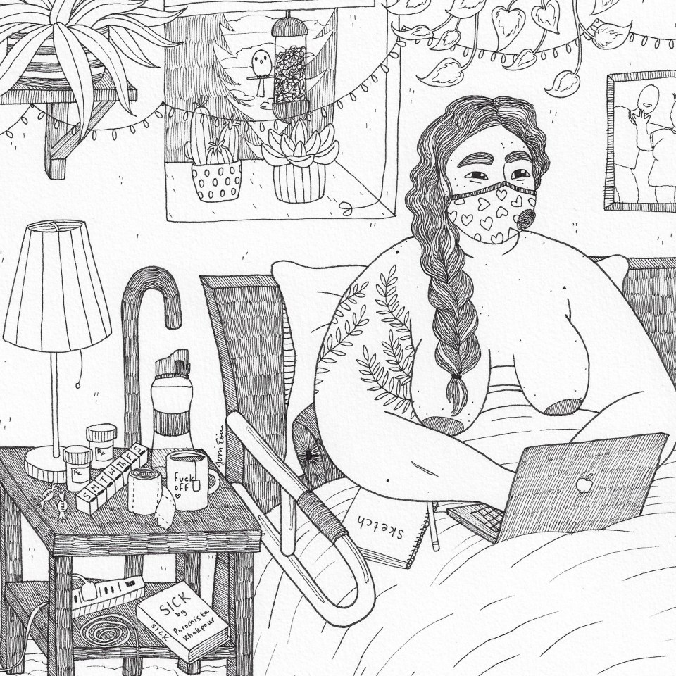"A photo of a black and white illustration of a nude, fat person sitting up in bed and typing on a laptop with a sketchbook on their lap and a VogMask on their face. Their eyes are smiling, and they look happy. Their dark, wavy hair has a few streaks of white in it, and it's been braided into a thick braid that spills down onto their leaf-tattooed arm, next to their freckled, acne-riddled skin. They have an assistive bar attached to their bed to help with getting in and out of bed, and there is a nightstand next to them filled with a hodgepodge of items: a lamp, a water bottle, a mug of tea with text that reads ""fuck off"" on it, a roll of toilet paper with a bit sticking out, a pill caddy, a pair of prescription bottles, a couple of Halls cough drops, a curled up charging wire, an extension cord outlet, and a book titled ""Sick"" by Porochista Khakpour. On the floor is a fluffy carpet, topped with a striped rug with a pair of fuzzy slippers waiting to be used. Above and behind them are several plants, some hanging and some resting on a deep window shelf where we can see outside past the partially closed blinds to see a curious bird perched on a bird feeder and peering inside with a background of pine trees and cloudy sky. Across the wall is a string of twinkle lights hung haphazardly to provide a bit of cheer next to a framed photo of a pair of people engaging happily with one another."
