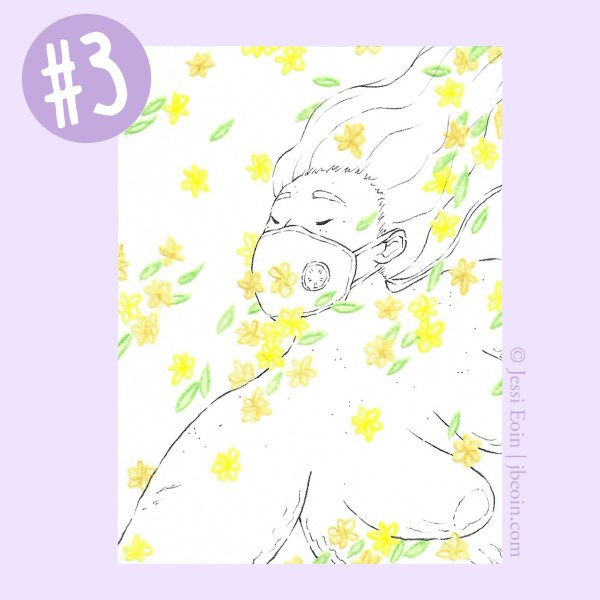 A photo of the third Mini Original against a light purple background with a label in the top left corner showing that it's Mini Original number three. The piece is a minimalist black and white drawing of a nude, fat, Asian person floating in a flurry of tiny, colorful flowers that pool in various spots on the person's body. This one has orange and yellow flowers with green leaves, and the person is facing the viewer, wearing a Vogmask as their long hair flows back in the wind. Their eyes are closed, and they look serene. Their body has lots of cellulite, acne, stretch marks, and rolls on them, as well as a scar on their upper arm.