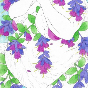 A close up of the piece Winter Flower: Honeywort.