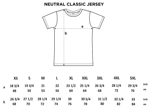 A size shart illustration demonstrating a visual example of the details shared in the product description.