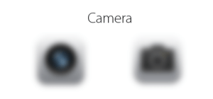 Blurred Camera icons.