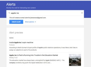 how to use google alerts for stocks apple inc