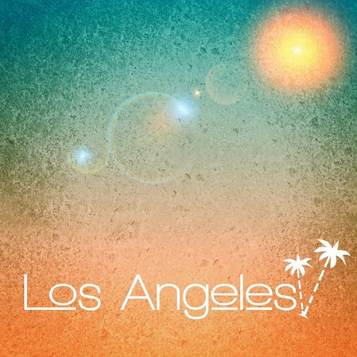 """Los Angeles"" written on a blue/orange background"